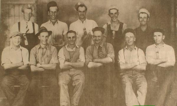 Picture of a group of Jersey owners from Harvey Station, York Co., N.B. Back Row. George Tray, Ronald Little, Dayton Davis, Burns Little, Bradshaw Coburn. Front Row. Gilbert Robison, Maurice Lister, Donald Know, Arthur Cunningham, Giff Lister, Sterling Little. Original photograph in collection of Earl Patterson. Image Thanks to J. Hall.